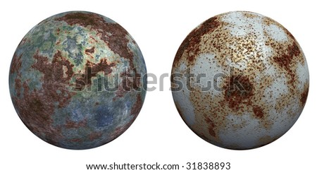 3d rusted steel spheres set or collection  isolated on white,ideal for 3D symbols, web buttons or logo designs