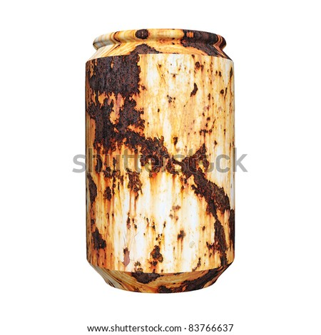 3d rusty can isolated on white background