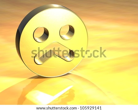 3D Sad Face Gold Sign over yellow background
