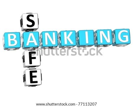 3D Safe Banking Crossword on white background
