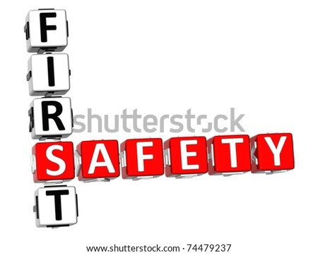 3D Safety First Crossword on white background