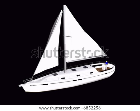 3D Sailboat front side view on isolated black background
