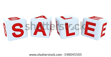 3D sale white cubes on the white background