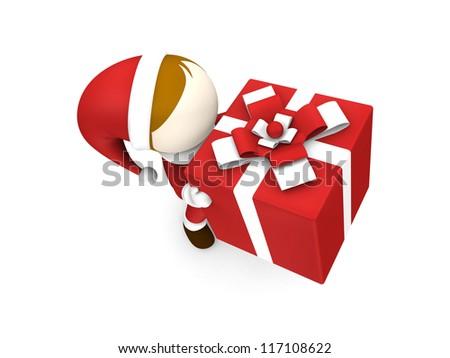 3d santa claus holding gift box