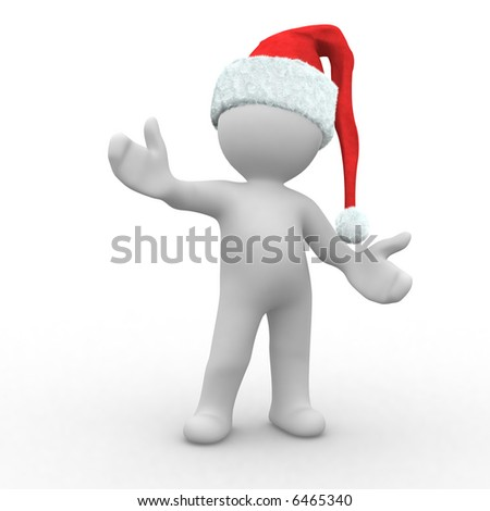 3d santa claus in a welcome pose
