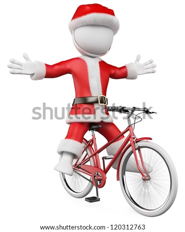 3d santa claus on bike with a helmet. 3d image. Isolated white background.