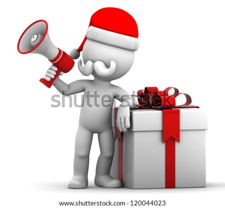 3d Santa holding gift box and shouting using megaphone. Isolated on white background