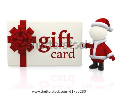 3D Santa with a Christmas gift card - isolated over a white background