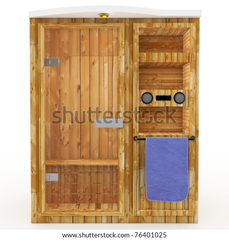 3d sauna cabin with blue towel isolated on white