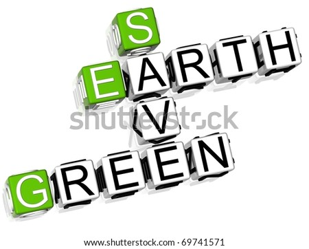 3D Save Earth Green - stock photo