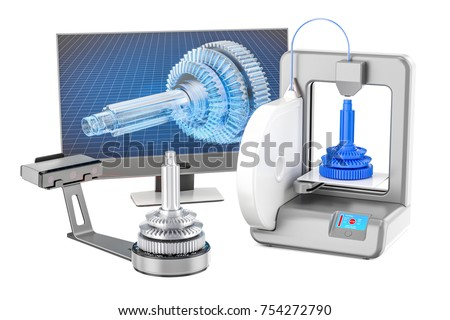 3d scanner, 3d printer and computer monitor, 3D rendering isolated on white background