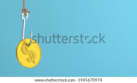 3D Scene. Hook the bait with a coin. Stock photo ©