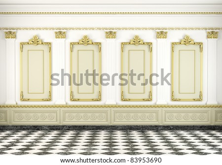 3d scene of a white classic wall with golden moldings and marble floor
