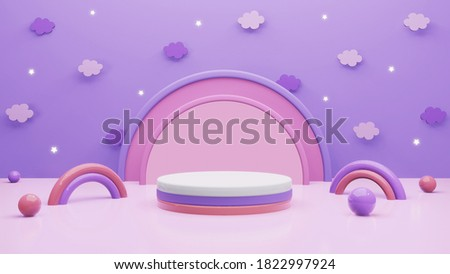 3d scene render background with sky purple and cylinder podium