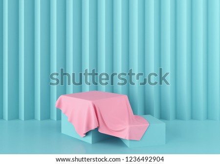 3d Scene rendering of geometric shape abstract background with pastel blue color podium in minimal design.