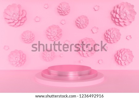 3d Scene rendering of geometric shape abstract background with pastel pink color podium in minimal design.
