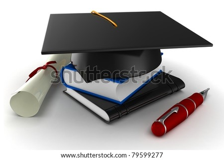 3d school graduation  isolated on white - stock photo