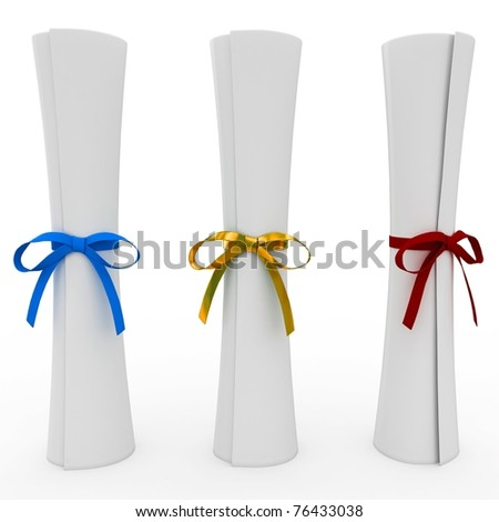 3d scrolls with colored ribbon isolated on white