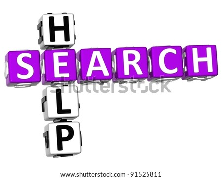 3D Search Help Crossword on white background