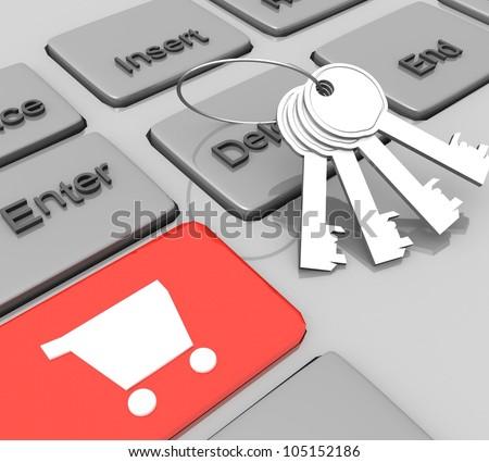 3d Secure e-commerce concept - stock photo