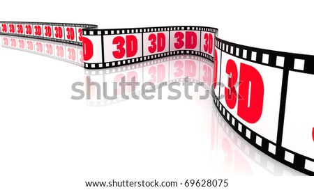 3D Segment color film with word 3d