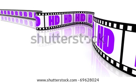 3D Segment color film with word HD