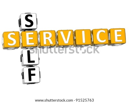 3D Self Service Crossword on white background