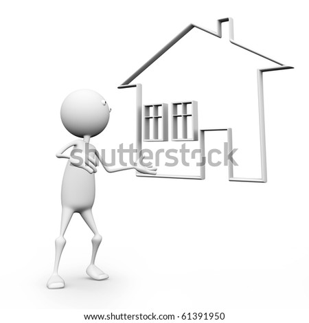 3d selling new homes, isolated on a white background.