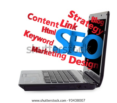 3d SEO flow chart ejected from the Laptop. isolated on white