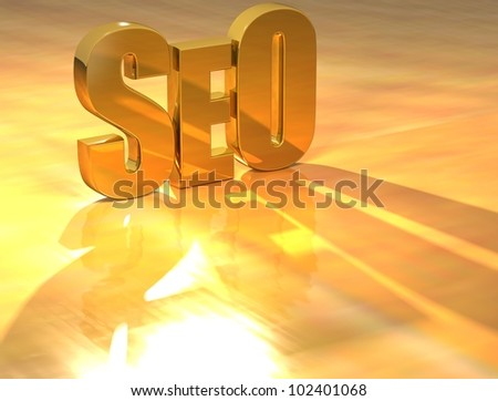 3D SEO Gold text over yellow background