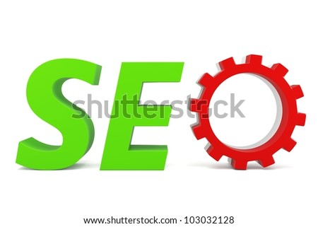 3d seo Search Engine gears on white background