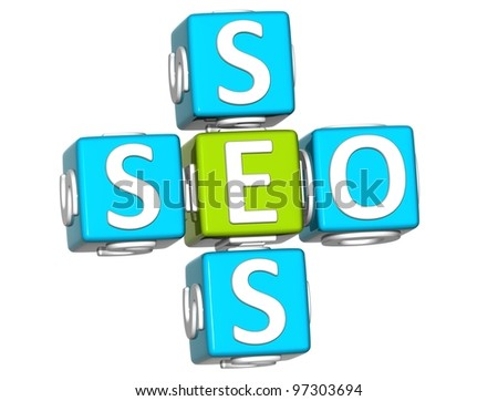 3D Seo Service Crossword on white background