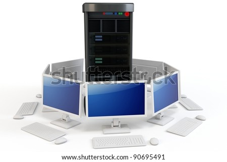 3d server with computer terminlsl on white background - stock photo