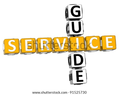 3D Service Guide Crossword on white background