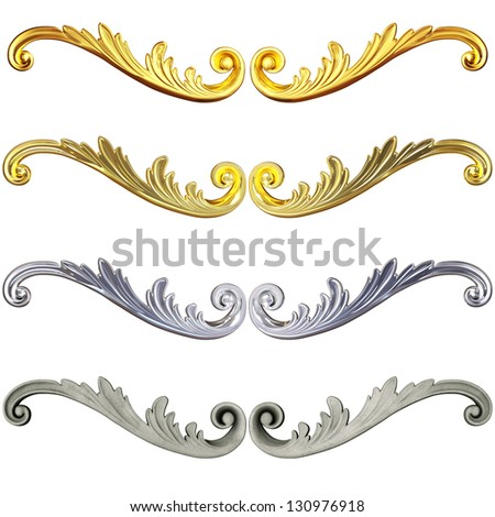 3d set of an ancient gold and ceramics ornament on a white background - stock photo
