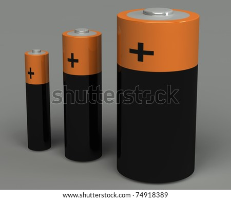 3d set of battery on the grey background
