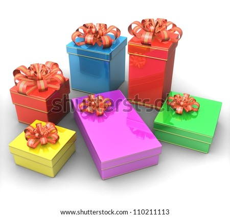 3d Set of gift boxes