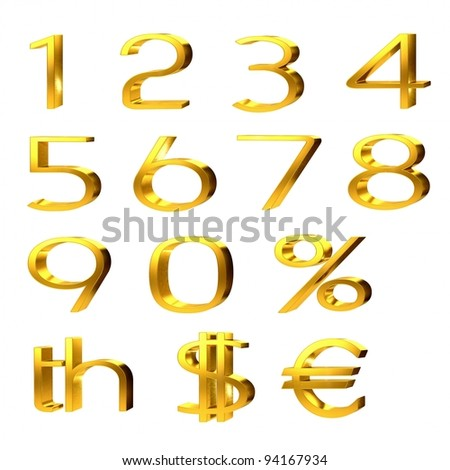 3d set of gold numerals, percentage and currency symbols for pound, dollar and euro isolated on white