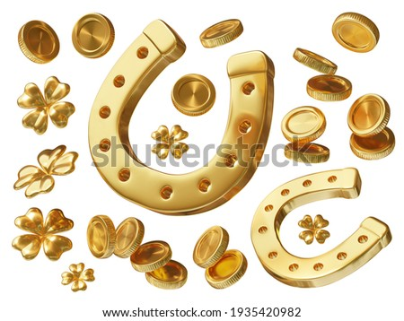 3d set of golden coin, horseshoe and four leaf clover on white background. Symbol of luck and wealth. Saint Patricks Day design for greeting card, banner, poster Foto stock ©
