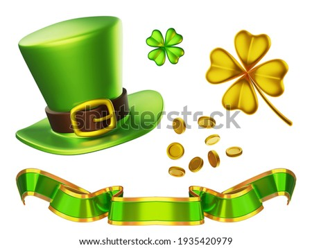 3d set of green leprechaun hat, golden coin, ribbon and four leaf clover on white background. Saint Patricks Day design for greeting card, banner, poster Foto stock ©