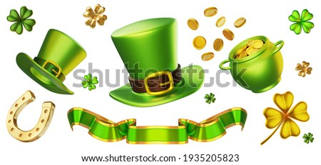 3d set of green leprechaun hat, pot with golden coin, ribbon, horseshoe and four leaf clover on white background. Saint Patricks Day design for greeting card, banner, poster Foto stock ©