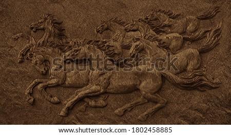 3d Seven Horses Running Emboos Fusion Art On Wall 3d Illustration Wallpaper Design Foto stock ©