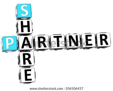 3D Share Partner Crossword on white background
