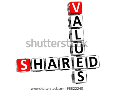 3D Sharing Values Crossword cube words on white background