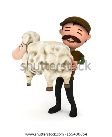 3d sheep and sheepman - isolated - stock photo