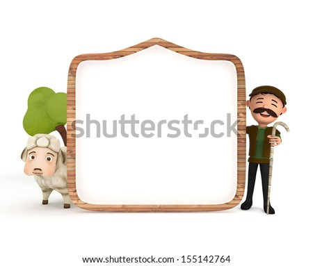 3d sheep and sheepman with wooden frame