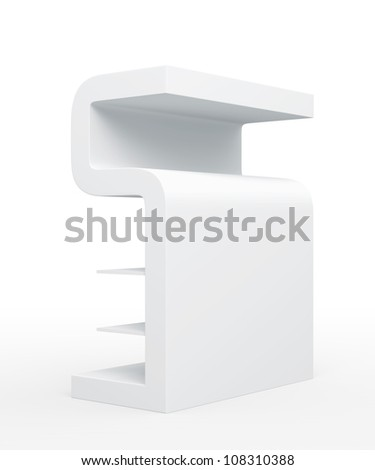 """3D shelves and shelf """" S Design """" on a white background. Isolated"""