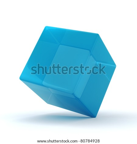 3d shiny colorful glass cubes, on white background