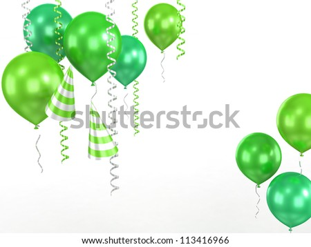 3d shiny red ballons  on white background