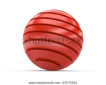 3d shiny  red  strip sphere